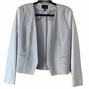 Judith & Charles Grey W/ Leather Sleeves Blazer